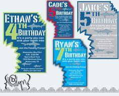 shark invitation  printable  birthday party  customizable, party invitations