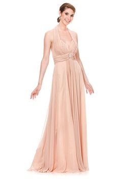 9655641ebd46 This empire waist halter neck evening gown made of H. multi chiffon flows  down from the neck to bottom graciously. The pleated halter neck and the  mid dress ...