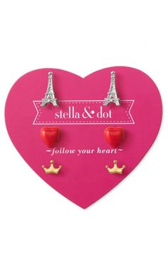 Surprise your little girl with a Paris & Eiffel Tower stud earring set from Stella & Dot.