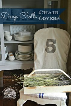 Drop Cloth Chair Covers #diy