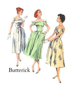 Vintage 1950s Butterick 8152 Misses Off the Shoulder Summer Dress with Accent Bow Sleeves and Patch Pockets Sewing Pattern Size 14 Bust 34 on Etsy, $28.00