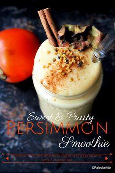 Makea pirtelö persimonista | paleokeittio.fi Smoothies, Pudding, Drinks, Health, Desserts, Food, Smoothie, Drinking, Tailgate Desserts