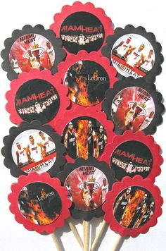 NBA Miami Heat Cupcake Toppers/Party Picks by CakeToppersAndBeyond, $6.00 Miami Heat Basketball, Nba Miami Heat, Basketball Party, 12th Birthday, Birthday Ideas, Miami Heat Party, Creative Party Ideas, Bright Ideas, Cupcake Toppers