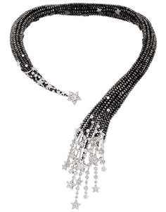 Chanel 'Nuit de Diamants' necklace in white gold, set with 319 brilliant-cut diamonds, seven round-cut diamonds and facetted black-diamond beads