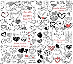 BIG SET of Doodle Hearts Clipart! Heart clip art, Digital hearts clip art, 90…