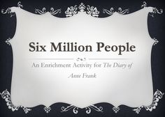 """FREE LANGUAGE ARTS LESSON - """"Six Million People: An Enrichment Activity for The Diary of Anne Frank"""" as seen on Fifth Grade Flock  www.fifthgradeflock.com"""