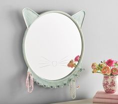 Turqouise Ceramic Kitty Mirror | Pottery Barn Kids