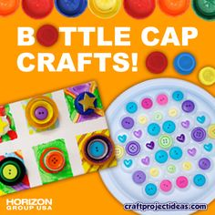 Find kids #crafts using bottle caps as a recycled material