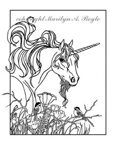 adult coloring page fantasy unicorn by originalsandmore on etsy - Art Nouveau Unicorn Coloring Pages