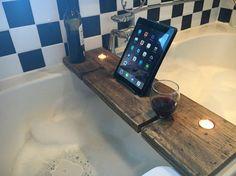 Bath Shelf Bath Tray Book Holder Bath Caddy by SpudsCreativeAsylum Bathtub Tray, Bathtub Caddy, Bath Wine Glass Holder, Bath Tray Caddy, Bath Board, Bath Shelf, Easy Wood Projects, Book Holders, Best Bath