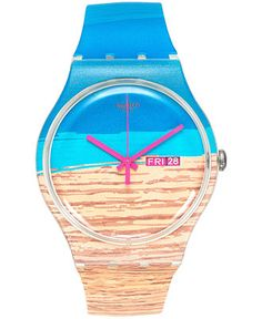 Swatch Unisex Swiss Blue Pine Semi-Transparent Multicolor Print Silicone Strap Watch 41mm SUOK706 - Watches - Jewelry & Watches - Macy's
