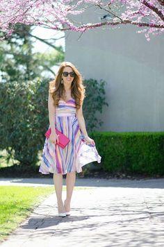 Striped Midi Dress - Jimmy Choos & Tennis Shoes #tennisshoes
