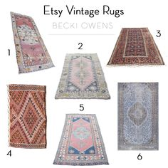 Etsy is on of my favorite resources for beautiful rugs at great prices. Today, I'm sharing 6 Etsy shops that have a large selection of amazing vintage rugs.