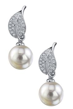 18K White Gold 9mm White South Sea Pearl & Diamond Earrings