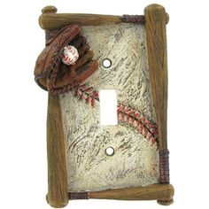 Baseball Single Switch Cover  hobby lobby - switch and outlet covers, drawer pulls and knobs - cute theme for kids room!