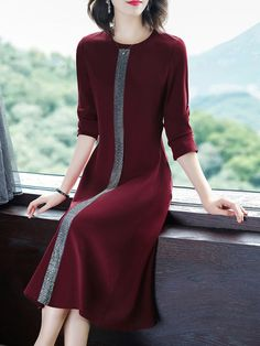 Round Neck Printed Shift Dress # Daily update comfy women's casual styles, big everyday Latest Fashion Clothes, Fashion Dresses, Cheap Fashion, Modele Hijab, Baby Girl Dress Patterns, Dress Silhouette, Two Piece Dress, Elegant Outfit, Summer Dresses For Women