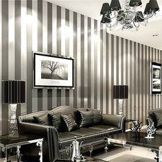 Modern Feature Brief Vertical Stripes Wallpaper Striped Wall Coverings Papel De Parede Home Decoration Non Woven Design