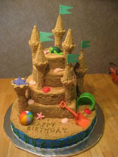 sandcastle cake with flags