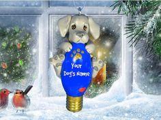 Weimaraner Dog Christmas Light Bulb Ornament by sallysbitsofclay, $20.00