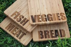 Fish, Meat, Bread or Veggies Personalised Chopping Board (With Gift Tag) - Present, Birthday, Housew Personalised Chopping Board, Fish Breading, Beeswax Polish, Fish And Meat, Clean Freak, Wooden Gifts, Types Of Food, Decorative Accessories, House Warming