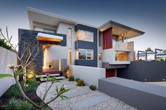 minus the red, this is close to the color scheme and contemporary design we would like for the exterior.  The slate would be around the garage door. Swanbourne Duplex 2012 - contemporary - Exterior - Perth - Yael K Designs
