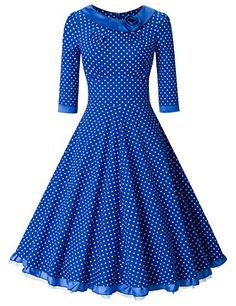 MUXXN Womens 1950s Rockabilly 34 Sleeve Swing Vintage Dress M Blue Dot * Check out the image by visiting the link.