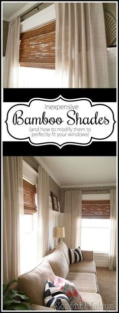 Detailed instructions on cutting woven bamboo shades to perfectly fit your windows! [Sawdust & Embryos} Love bamboo shades, but can't find any to perfectly fit your window? Learn how to modify bamboo shades for a custom fit to any window in your house! Kitchen Window Coverings, Kitchen Window Treatments, Tropical Window Treatments, Small Window Treatments, Burlap Window Treatments, Farmhouse Window Treatments, Living Room Windows, Living Room Decor, Living Rooms