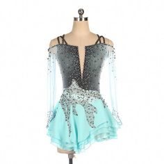Competition Figure Skating Dress Turquoise Grey – Boutique Step Up Figure Skating Competition Dresses, Figure Skating Outfits, Figure Skating Costumes, Figure Skating Dresses, Girls Dance Costumes, Dance Outfits, Dance Dresses, Synchronized Skating, Skate Wear