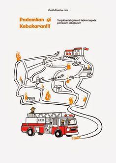permainan anak balita/TK, gambar maze (labirin) pemadam kebakaran
