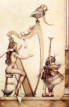 Moon Harpe by Michael Parkes  #erotic #art