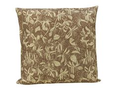 Honey Suckle Cushion, beige cotton canvas, made in Britain