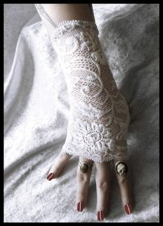 Victoria Lace Fingerless Gloves  Snow White by ZenAndCoffee, $25.00
