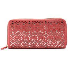 Apt. 9® Britt Snakeskin Zip Wallet ($19) ❤ liked on Polyvore featuring bags, wallets, orange, zipper wallet, orange bag, red bags, zip around wallet and snake skin wallet