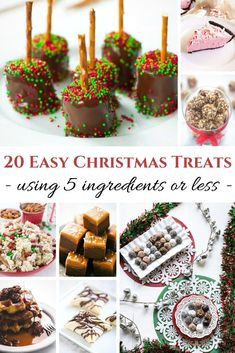 Easy Treats for the Holidays using 5 ingredients or LESS! Easy Christmas Treats, Christmas Desserts, Holiday Treats, Christmas Cookies, Holiday Recipes, Holiday Gifts, Christmas Recipes, Christmas Events, Christmas Stuff