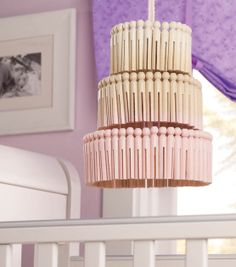 A clothespin chandelier would look so cute in a baby's room!  Makes a great baby shower gift!
