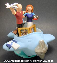 Cessna Pilot Groom Marries Atlanta Braves Bride- Wedding Cake Topper...this is your pilot speaking...we are cruising at a matrimonial speed and elevation..... you may unbuckle your seat belts and let the wedding proceed...  ... this couple loves to fly around in his Cessna plane... when they aren't at a Atlanta Braves game or NASCAR ... $250#pilot#airplane#atlanta_braves#cessna#wedding #cake #toppers  #custom  #Groom #bride #anniversary…