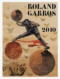 """""""Roland Garros"""" by Nalini Malani - Offset lithograph, signed and numbered in pencil by the artist, from the edition of Rafael Nadal, Nalini Malani, Tennis Serve, Tennis Match, Play Tennis, Tennis Posters, Davis Cup, Tennis Tournaments, France"""