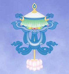 The first symbol is an umbrella or parasol. It is a symbol of the sky and of the world above. The umbrella (the divine forces above) cast a protective shade over the world below. It represents protection from suffering and desire through spiritual means. Buddhism Symbols, Spiritual Symbols, Buddha Buddhism, Tibetan Buddhism, Buddhist Art, Tibetan Art, Parasol, Tibetan Mandala, Vajrayana Buddhism