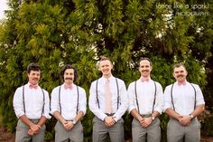 Groom, groomsmen, wedding fashion, pink bowties, gray pants, suspenders, wedding ideas, mens fashion, trees, outdoor photography :: Leah + Chance's Wedding Day at Duluth Town Green Festival Center in Duluth, GA :: with Chad + Tina