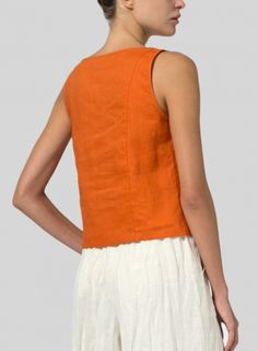 MISSY Clothing - Linen Sleeveless Short Tank