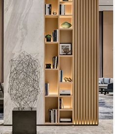 Modern room partitions have many uses. They can divide a large room into smaller areas, separate a room, enhance your … Interior Design Living Room, Living Room Designs, Living Room Decor, Living Room Divider, Daybed In Living Room, Room Divider Shelves, Living Room Storage, Rugs In Living Room, Design Bedroom