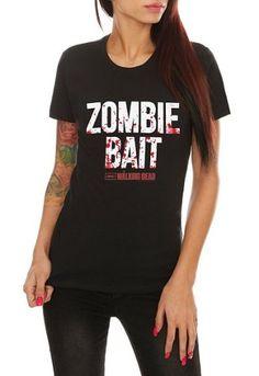 650fad8a5a9 Amazon.com  The Walking Dead Zombie Bait Juniors Tee  Clothing Walking Dead  Girl