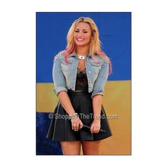 Buy Demi Lovato Topshop spike denim jacket studded boots 'Good Morning... ❤ liked on Polyvore featuring demi and demi lovato