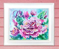 """Single Rose-Love, Martha Kisling, Watercolor, 8""""x10"""""""