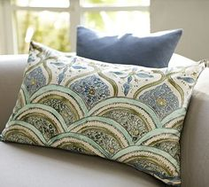 Like the color combo for inspiration..blues, gold, cream--Layla Lumbar Pillow Cover #potterybarn