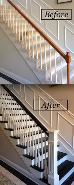 Renovated staircase with java gel stain on treads and banister.