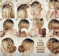 Blonde braid with bun