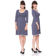 Viva la Mama | Nursing dress MEMPHIS (grey/polka-dots). This breathtaking knee-length breast feeding dress charms everybody with its sweet neckline. MEMPHIS is beautiful but also functional for discreet nursing. It can be varied for different occasions, from elegant to casual.