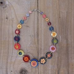Button Necklace - Warm Cheerful Colours | Button Jewellery