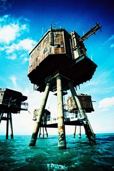 The Maunsell Sea Forts were small fortified towers built in the Thames and Mersey estuaries during the Second World War to help defend the United Kingdom.